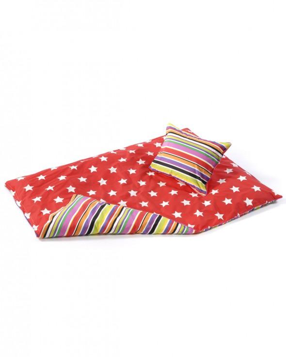 Smallstuff rødt sengetøj med stjerner